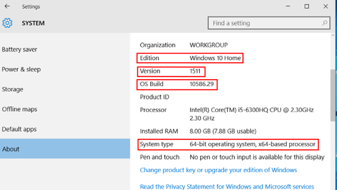 Cách kiểm tra phiên bản Windows 10 đang sử dụng