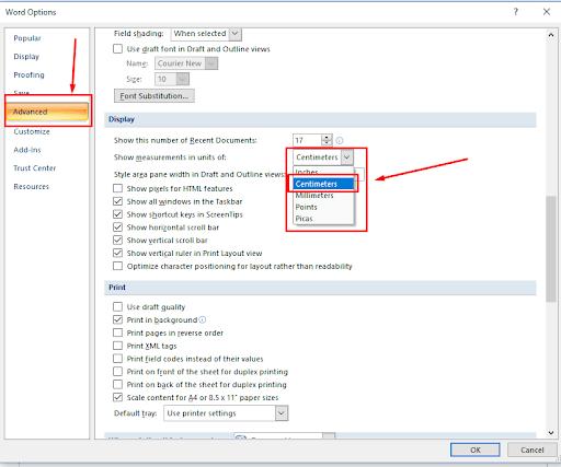 Hướng dẫn chuyển đổi đơn vị Page Setup bằng cm trong Word