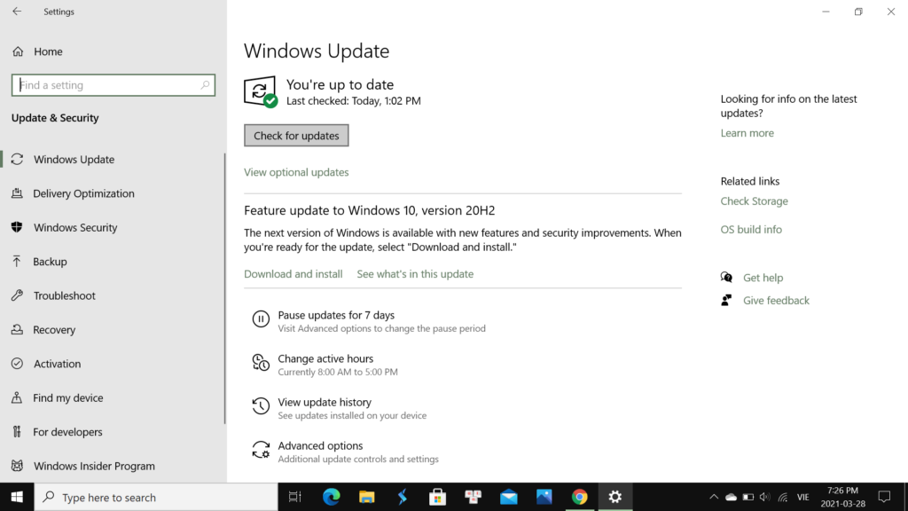 Hướng dẫn các cách cập nhật Windows 10 & Tránh bị Hack