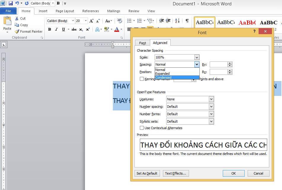 Cách tăng giảm khoảng cách giữa các chữ trong Word 2010