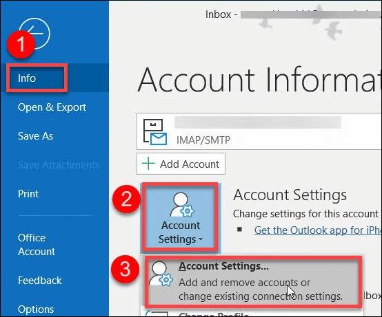 Hướng dẫn cách Loại bỏ, xóa tài khoản Outlook 2013
