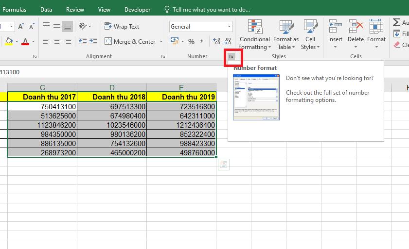 Hướng dẫn cách định dạng tiền tệ trong Excel bằng số