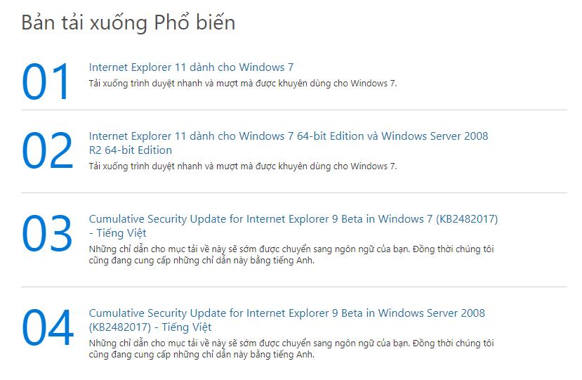 Hướng dẫn Tải IE 11 cho Windows 7 64 bit cực kỳ đơn giản